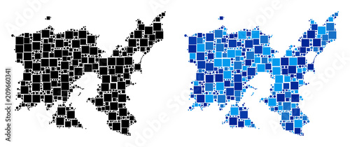 Poster Pixel Dotted Limnos Greek Island map versions. Abstract geographic map variant done with blue color tones. Vector mosaic of Limnos Greek Island map constructed from random rectangle and circle parts.