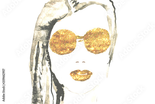 Fotografie, Obraz  Watercolor beautiful woman with golden glittering lips and eyeglasses on white b