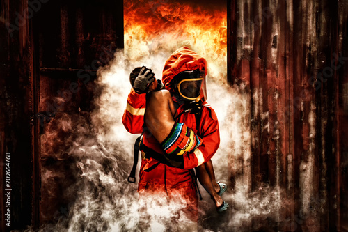 Canvas Print firefighter rescue