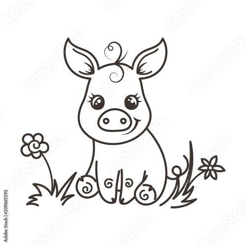 Tuinposter Doe het zelf Cute cartoon baby pig in a cool rainbow glasses