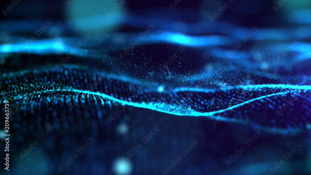 Fototapety, obrazy: Futuristic Blue digital abstract luxurious sparkling wave particles flow de-focus background