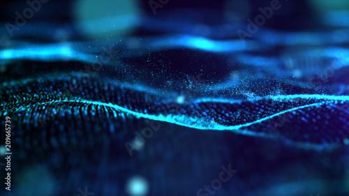 Foto  Futuristic Blue digital abstract luxurious sparkling wave particles flow de-focu