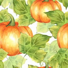 Orange Pumpkins. Seamless Pattern 1. Watercolor Illustration