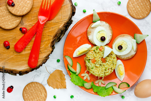 Halloween owl lunch for kids - boiled egg with rice and vegetables