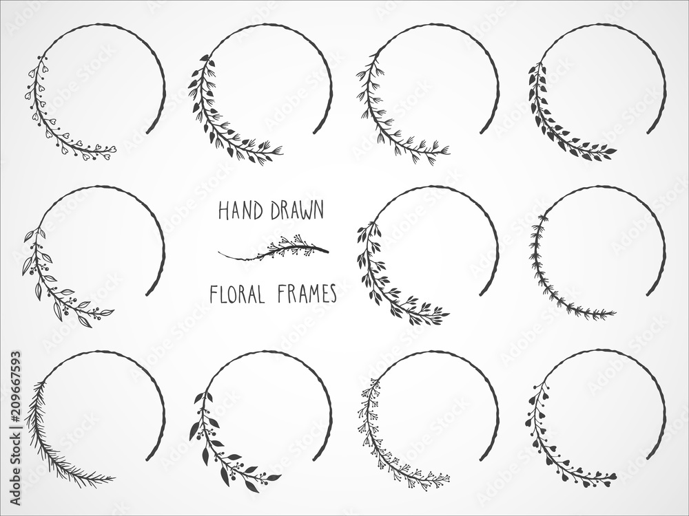 Fototapeta Vector set of floral hand drawn frames and decorative elements.