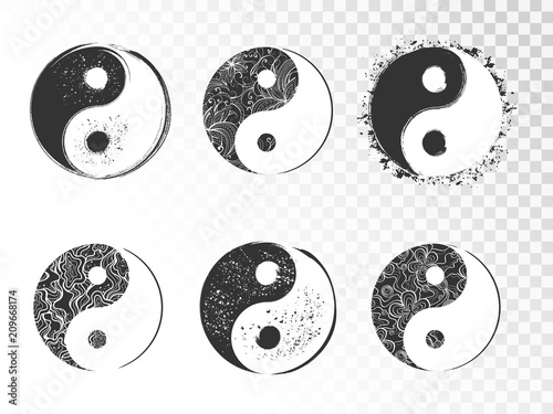 Fotografering  Vector set of hand drawn yin yang signs with grunge and floral elements