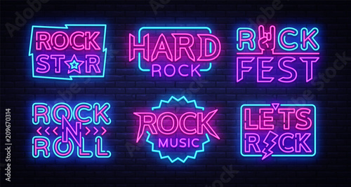 Valokuva  Rock Music Neon Signs Collection Vector