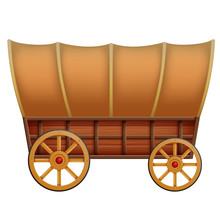 A Wooden Carriage On A White B...