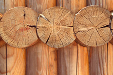 Texture Parallel Folded Treated Timber. Ancient Technology Building Of Russian Log Hut, Wood House Cottages And Churches
