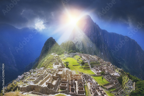 Deurstickers Zuid-Amerika land Golden Sun Rays of Machu Picchu with fictional weather situation perspective