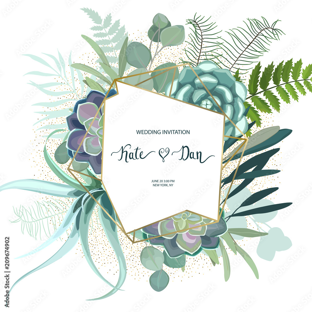 Fototapeta Greenery geometric frame with leaves, succulent , eucalyptus, fern and cactus. Perfect for wedding, frame, pattern,greeting card, invitations, lettering. Watercolor style. Vector illustration