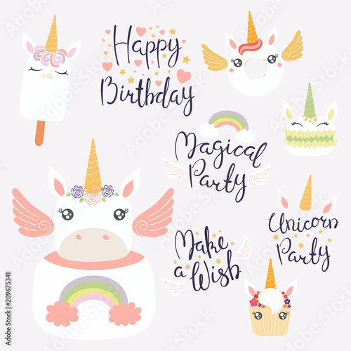 Printed kitchen splashbacks Illustrations Set of hand written birthday lettering quotes, desserts with cute unicorn faces. Isolated objects on light background. Vector illustration. Design concept for banner, invitation, greeting card.