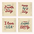 A set of vintage cards with hand lettering quotes. 4th of July. USA Independence Day. Vector illustration.