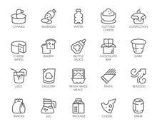 20 Linear Icons Of Drinks And ...