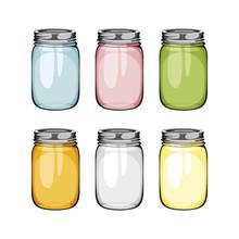 Set Of Mason Glass Jar. Ball. ...