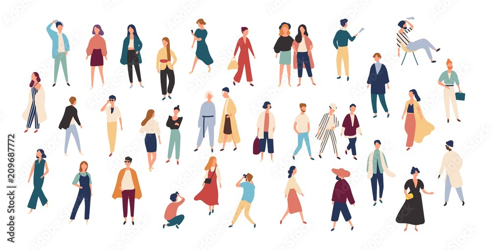 Fototapety, obrazy: Crowd of tiny people wearing stylish clothes. Fashionable men and women at fashion week. Group of male and female cartoon characters dressed in trendy clothing. Flat colorful vector illustration.