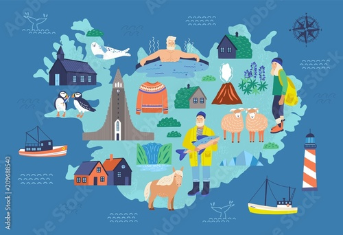 Map of Iceland with touristic landmarks and national symbols - lighthouse, sheep, fisherman, man in hot pool, Icelandic horse, Hallgrimskirkja Fototapeta