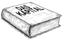 Vector Artistic Pen And Ink Conceptual Drawing Illustration Of Book Das Kapital Or Capital , Critique Of Political Economy, Written By Karl Marx.