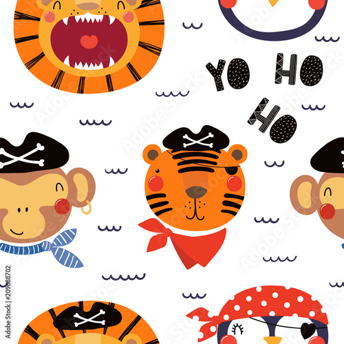 Printed kitchen splashbacks Illustrations Hand drawn seamless vector pattern with different cute pirate animals, on a white background. Scandinavian style flat design. Concept for children, textile print, wallpaper, wrapping paper.