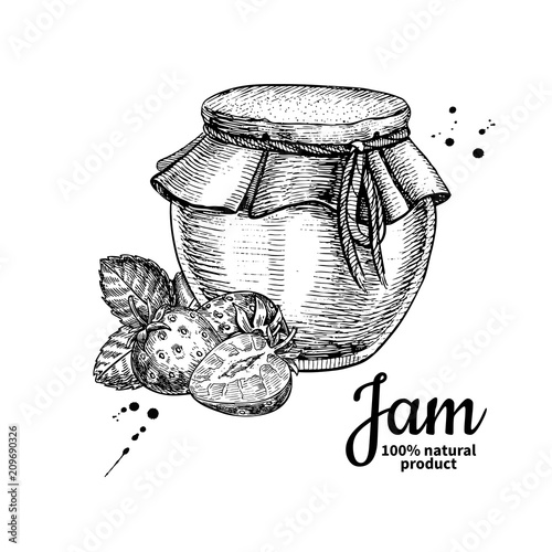Strawberry jam glass jar vector drawing.  Fruit Jelly and marmal Wallpaper Mural