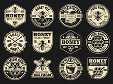 Beekeeping And Honey Vector Collection Of Badges
