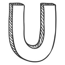 Vector Single Doodle Sketch Illustration - The Letter U