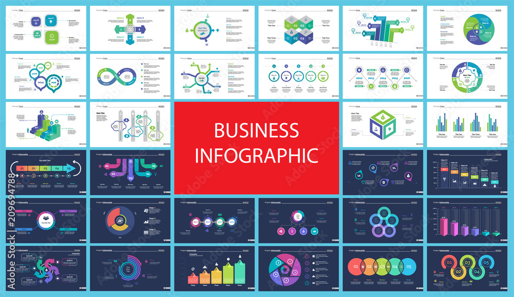 Fototapeta Inforgraphic diagram design set can be used for business project, for annual report, web design. Startup concept. Option chart, process chart, timeline, donut chart, bar graph, percentage diagram