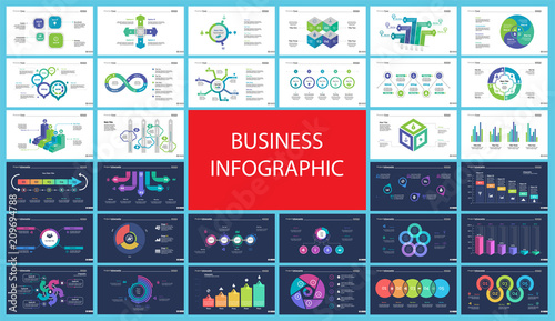 Slika na platnu Inforgraphic diagram design set can be used for business project, for annual report, web design