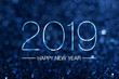 canvas print picture - Happy new year 2019 with dark navy blue glitter bokeh light sparkling background,Holiday celebration festive greeting card.