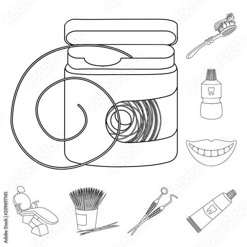 Fototapeta Dental care outline icons in set collection for design. Care of teeth vector symbol stock web illustration. obraz