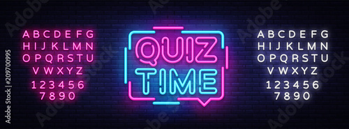 Quiz Time announcement poster neon signboard vector Canvas Print