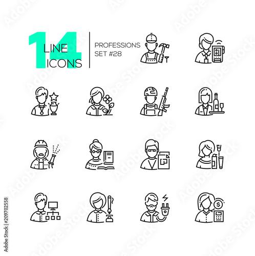 Fotografia Professions - set of line design style icons
