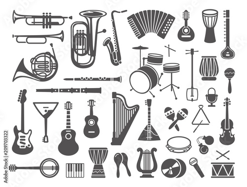Fotografía  Collection of musical instruments icons