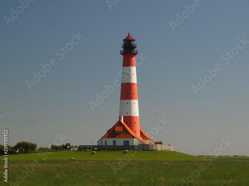 Foto op Aluminium Vuurtoren Leuchtturm Westerhever
