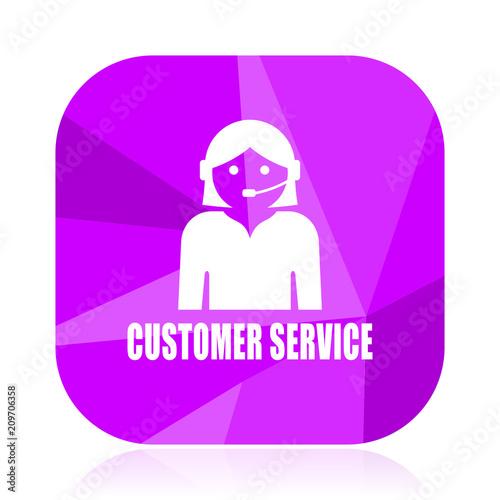 Customer Service Violet Square Vector Web Icon Internet Design And