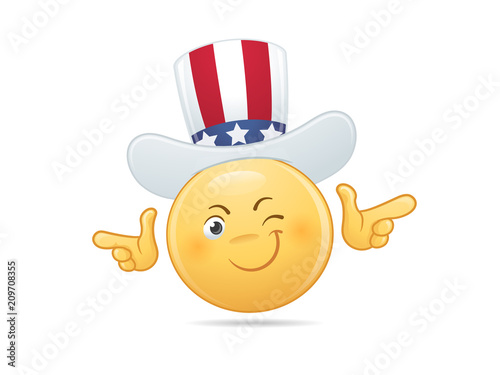 Cool Smiley Emoticon With Uncle Sams Hat Showing Finger Guns Vector