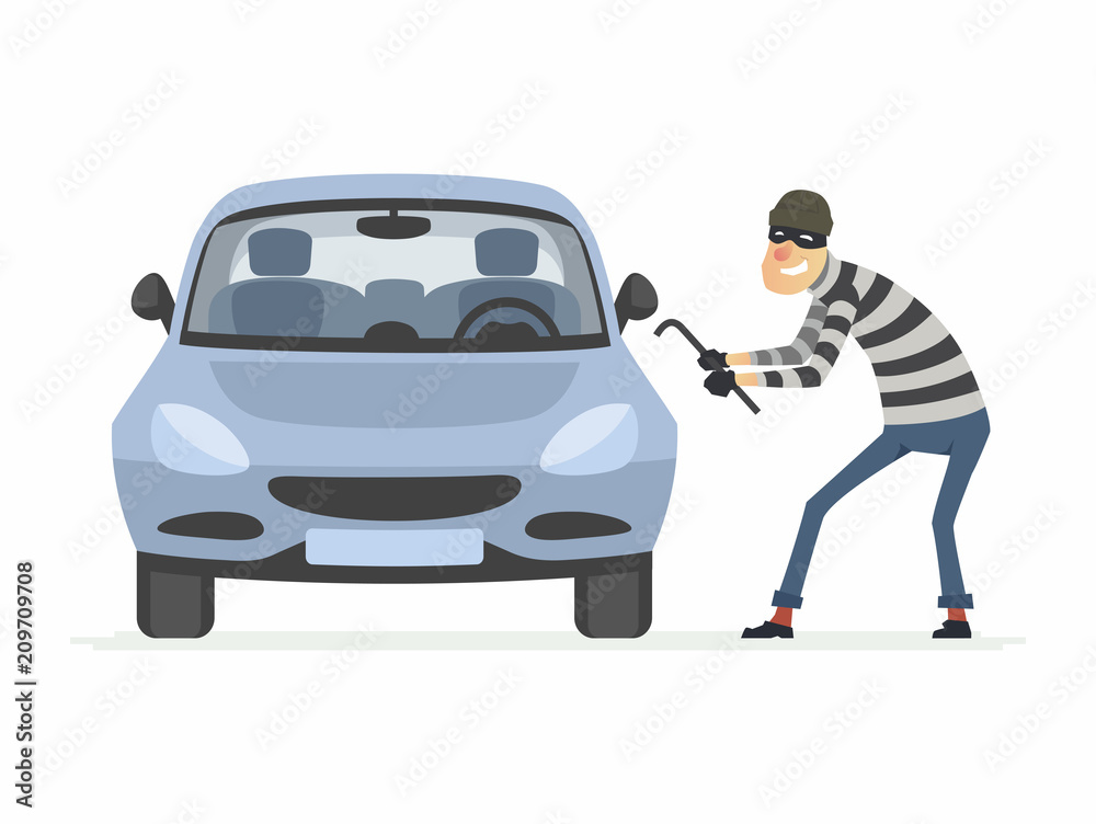 Fototapeta Car thief - cartoon people characters illustration