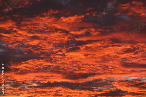 Foto op Canvas Baksteen Fire Sky