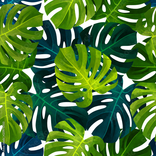 Fototapeta Tropical seamless pattern with monstera leaves