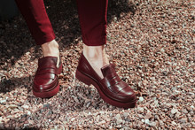Beautiful And Stylish Women's Shoes On Women's Legs