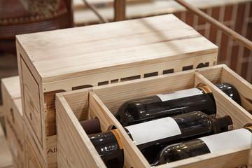 Wine bottles in wood box