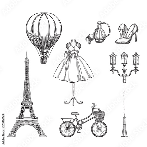 Travel to France hand drawn isolated design elements фототапет