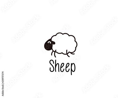 Cute Sheep doodle Fototapeta