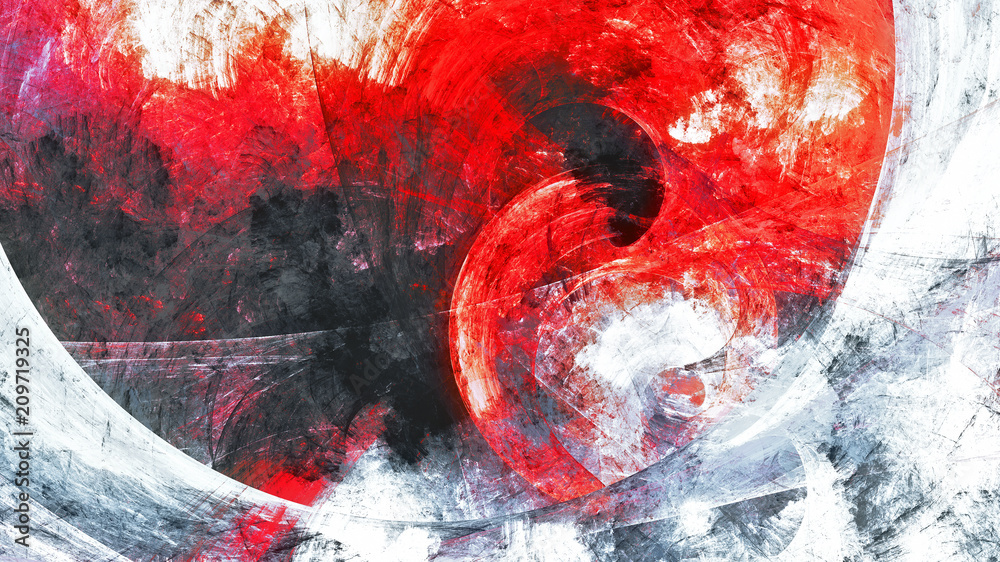 Fototapety, obrazy: Abstract red and grey grunge motion composition. Modern bright futuristic dynamic background. Fractal art for creative graphic design