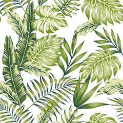 Panel Szklany Drzewa Pastel green jungle white background
