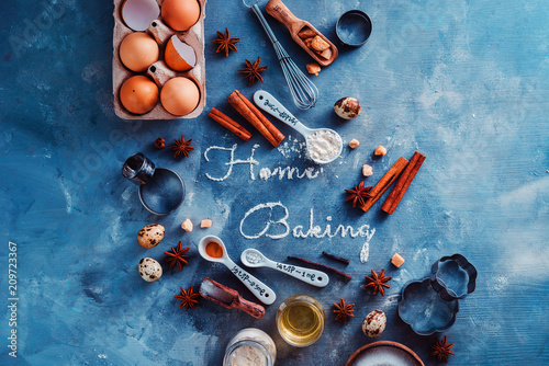 Header with baking tools and ingredients on a stone kitchen table Canvas Print