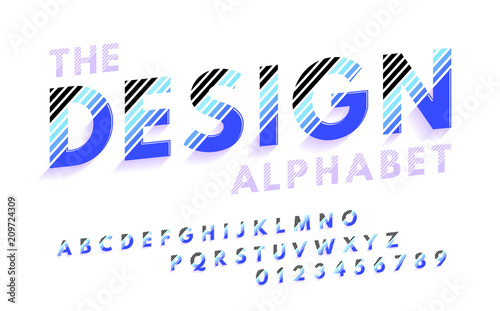 Stylish modern abstract italic font and alphabet with