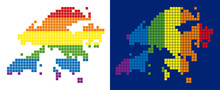 Dot LGBT Hong Kong Map Versions. Vector Geographic Plans In LGBT Rainbow Colors With Vertical And Horizontal Directions On White And Blue Backgrounds.