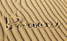 Peace Written In The Sand At Great Sand Dunes National Park And Preserve, Colorado