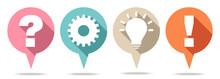 Round Speechbubbles Question, Work, Idea & Answer Retro